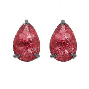 Brinco Semijoia Pedra Ice Fusion Gota Média 13Mm Vermelha Folheado A Ródio Negro