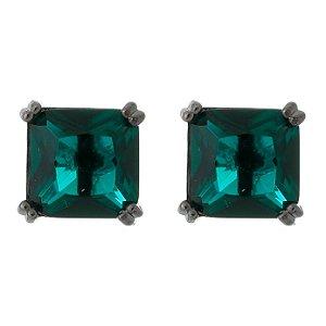 Brinco Semijoia Pedra Quadrada Média 10Mm Verde Esmeralda Folheado A Ródio Negro