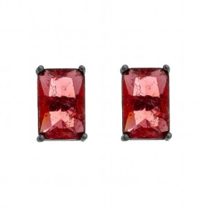 Brinco Semijoia Pedra Ice Fusion Retângulo Médio 12Mm Vermelha Folheado A Ródio Negro