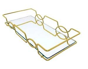 Bandeja Espelhada Hara de Alta Durabilidade Aço Inox - Modelo Carol 25x15 cm Cor Dourada