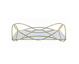 Bandeja Espelhada Hara de Alta Durabilidade Aço Inox - Modelo Isabela 25x15 cm Cor Dourada