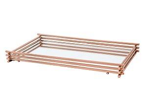 Bandeja Espelhada Hara de Alta Durabilidade Aço Inox - Modelo Wire 25x15 cm Cor Rosé