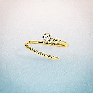 Anel Aquarius Ouro Clássico 18k com Diamantes
