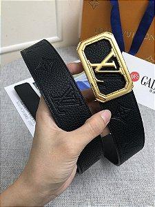 """Cinto Louis Vuitton """"Black/Gold"""""""