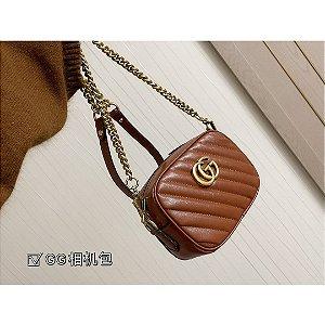 "Bolsa de Ombro Gucci GG Marmont Mini Matelassé Chevron ""Brown"" (PRONTA ENTREGA)"