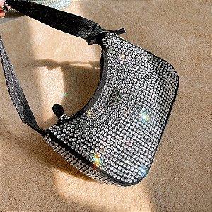 """Bolsa Prada Satin mini-bag com cristais artificiais """"Black"""" (PRONTA ENTREGA)"""