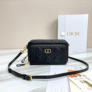 "Bolsa Dior Clutch Pochette Caro Dupla ""Black"""