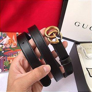 "Cinto Gucci com Fivela Double GG ""Black&Gold"""