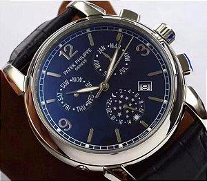 "Relógio Patek Philippe Geneve ""Silver/Blue/Black"""