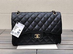 "Bolsa Chanel Double Flap Caviar Leather ""Black&Gold"""