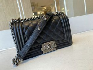 "Bolsa Chanel Bolsa Chanel Boy Caviar Leather ""Black"" (PRONTA ENTREGA)"