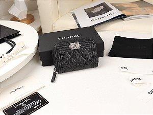 "Carteira Chanel Flap Boy Caviar Leather ""Black"" (PRONTA ENTREGA)"