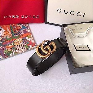 "Cinto Gucci com Fivela Double GG ""Black"""