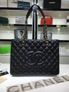 "Bolsa Chanel Shopper Tote ""Black/Gold"""