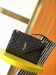 "Bolsa Saint Laurent Envelope matelassê ""Black/Silver"" (PRONTA ENTREGA)"