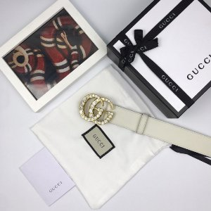"Cinto Gucci Double GG ""White&Gold"""