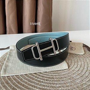 "Cinto Hermès Reversível  ""Black&Blue"""