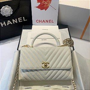 "Bolsa Chanel Top Handle ""White&Gold"""