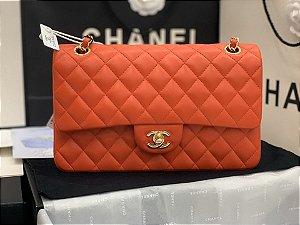 "Bolsa Chanel Double Flap Lambskin Gold Version ""Orange"""