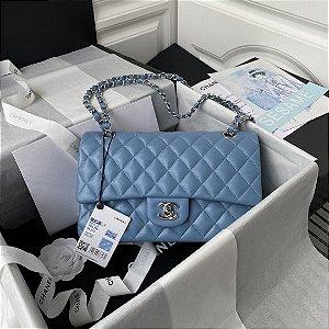 """Bolsa Chanel Double Flap Lambskin Silver Version """"Sky Blue"""""""