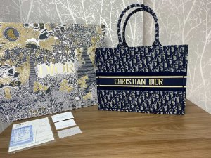 "Bolsa Tote Dior Book Veludo ""Blue Oblique"" (PRONTA ENTREGA)"
