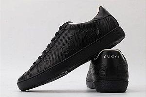 "Gucci Ace ""Black & Couro"" (PRONTA ENTREGA)"