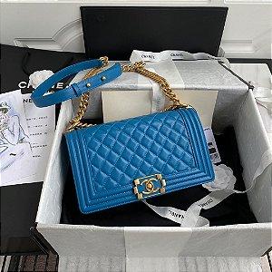 "Bolsa Chanel Boy Calf Leather ""Light Blue"""