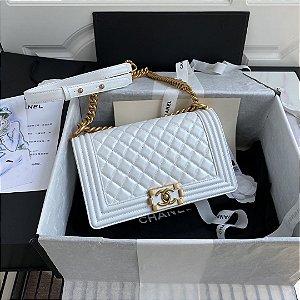"Bolsa Chanel Boy Calf Leather ""White"""