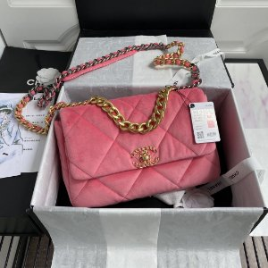 """Bolsa Chanel 19 Velvet """"Rose"""""""