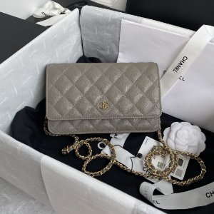 "Bolsa Chanel Woc Granulated Lambskin ""Grey"""