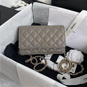 "Bolsa Chanel Woc Caviar ""Grey"""