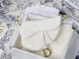 "Bolsa Dior Saddle Oblique Jacquard ""White"""