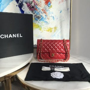 "Bolsa Chanel Double Flap ""Red/Gold"""