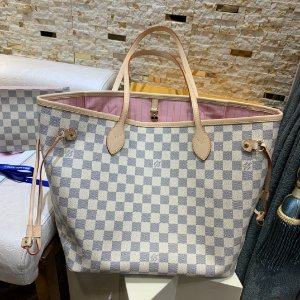 "Bolsa Louis Vuitton Neverfull Damier Azur ""Rose Ballerine"""