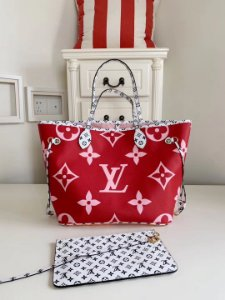 "Bolsa Louis Vuitton Neverfull Monogram Giant ""Red"""