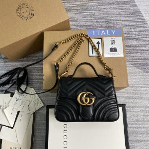 "Bolsa Gucci Top Handle GG Marmont Chevron Matelassé ""Black"""