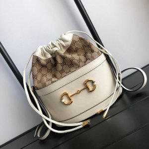 "Bucket Bag Gucci Horsebit 1955 GG Canvas ""White"""
