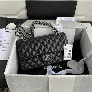 "Bolsa Chanel Double Flap Lambskin ""Black/Silver"" (PRONTA ENTREGA)"