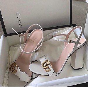 "Sandália Gucci Marmont Plataforma ""Nude"""
