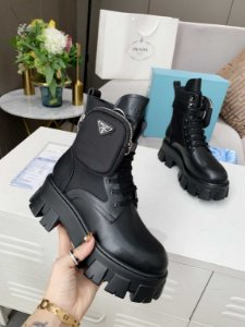 "Bota Prada Monolith Brushed Leather ""Black"""