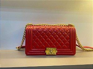 """Bolsa Chanel Boy Leather """"Red"""" (PRONTA ENTREGA)"""