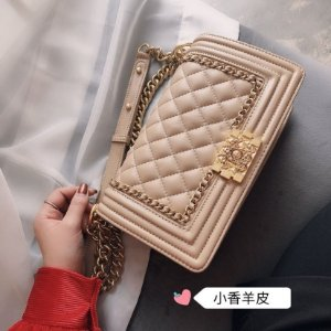 "Bolsa Chanel Boy Calf Leather ""Pink/Gold"""
