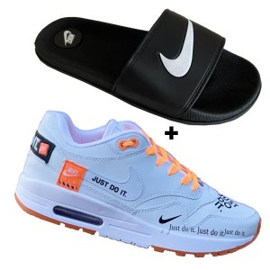 Tenis masculino esportivo run confortavel + chinelo slide