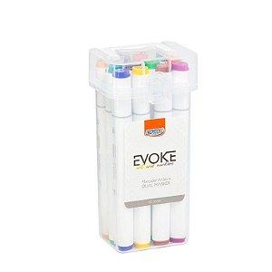 Marcador Artístico Dual Marker Evoke BRW 12 cores