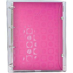 Fichário Universitário com 192 folhas cristal rosa 4 argolas - 2395 DAC