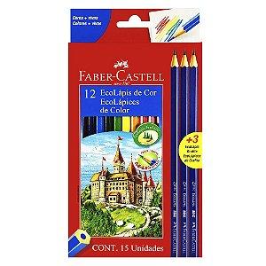 Ecolápis de cor 12 cores +3 Ecolapis grafite