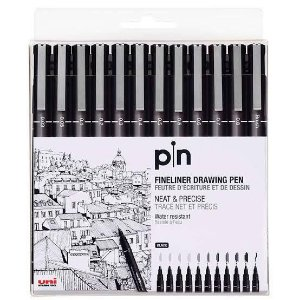 Caneta Pin Fineliner drawing pen 12 unid. uni