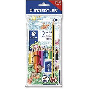 Lápis de cor 12 cores Noris Staedtler kit lapis e borracha