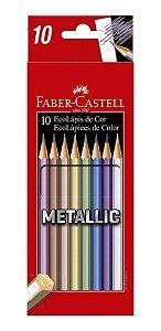 Ecolápis de cor metallic 10 cores Faber Castell