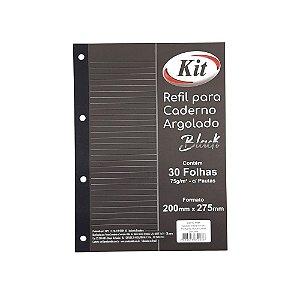 Refil para Caderno Argolado Black 30 folhas c/pautas kit